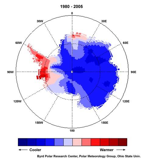 Östra och västra Antarktis, temp