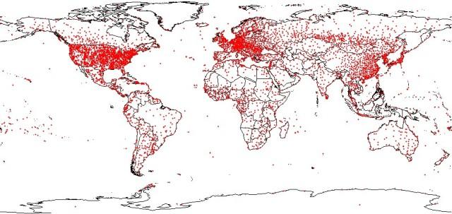 Väderstationer globalt