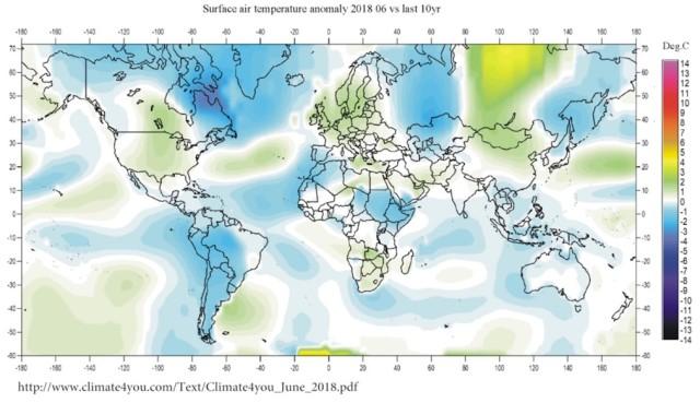 Temperaturkarta juni 2018